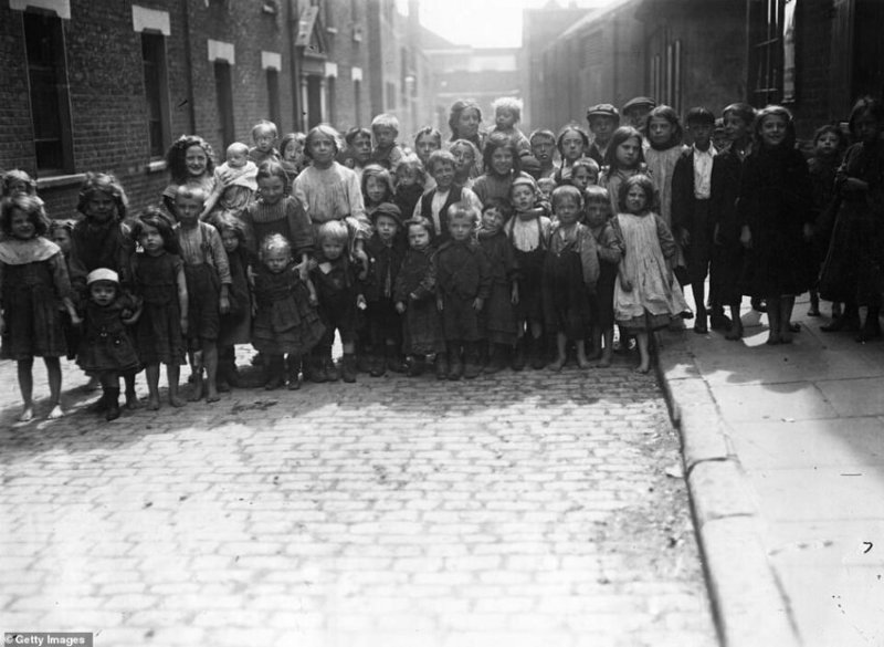 Дети трущоб, Уайтчепел, 1911 г.