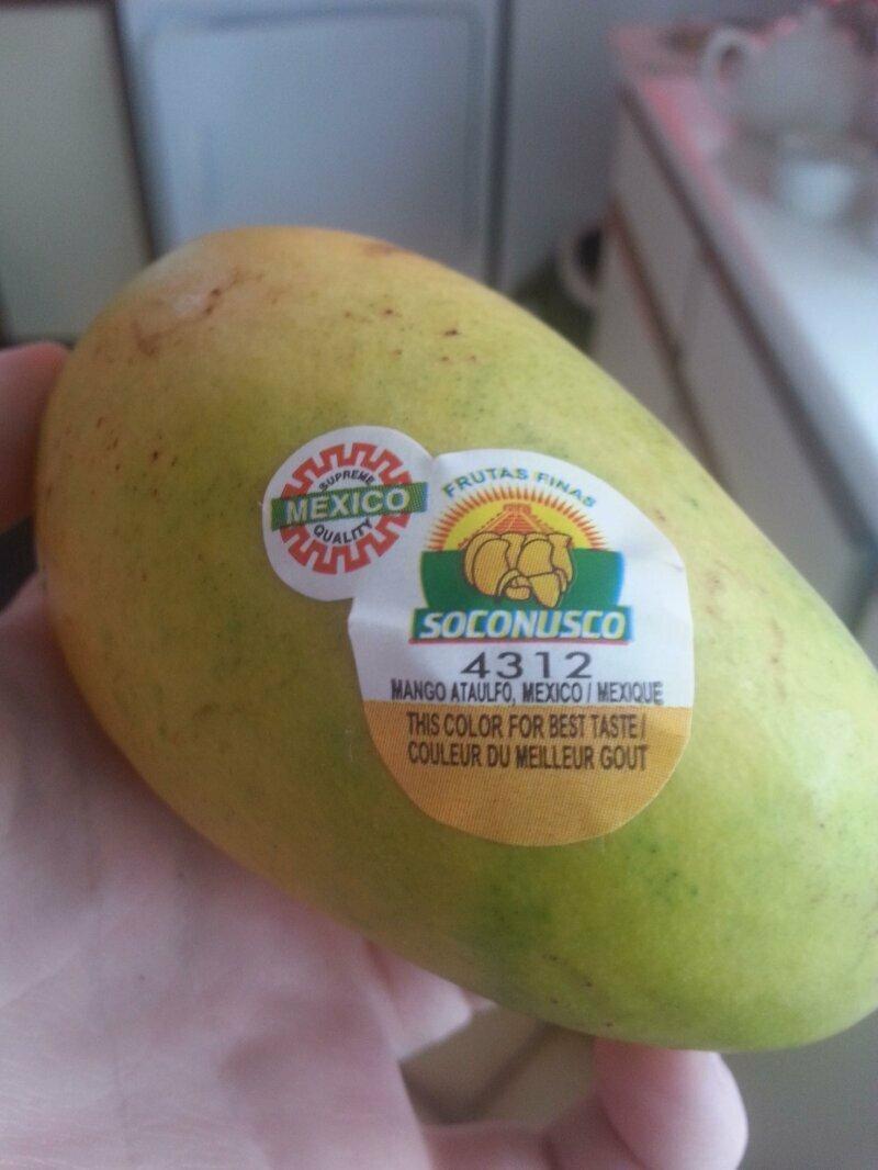 Наклейка на манго, показывающая, какого цвета должен быть фрукт в стадии оптимальной спелости и вкуса