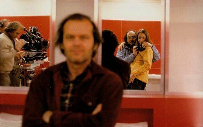 """Стэнли Кубрик с дочерью, Джек Николсон и съемочная группа """"Сияния"""""""