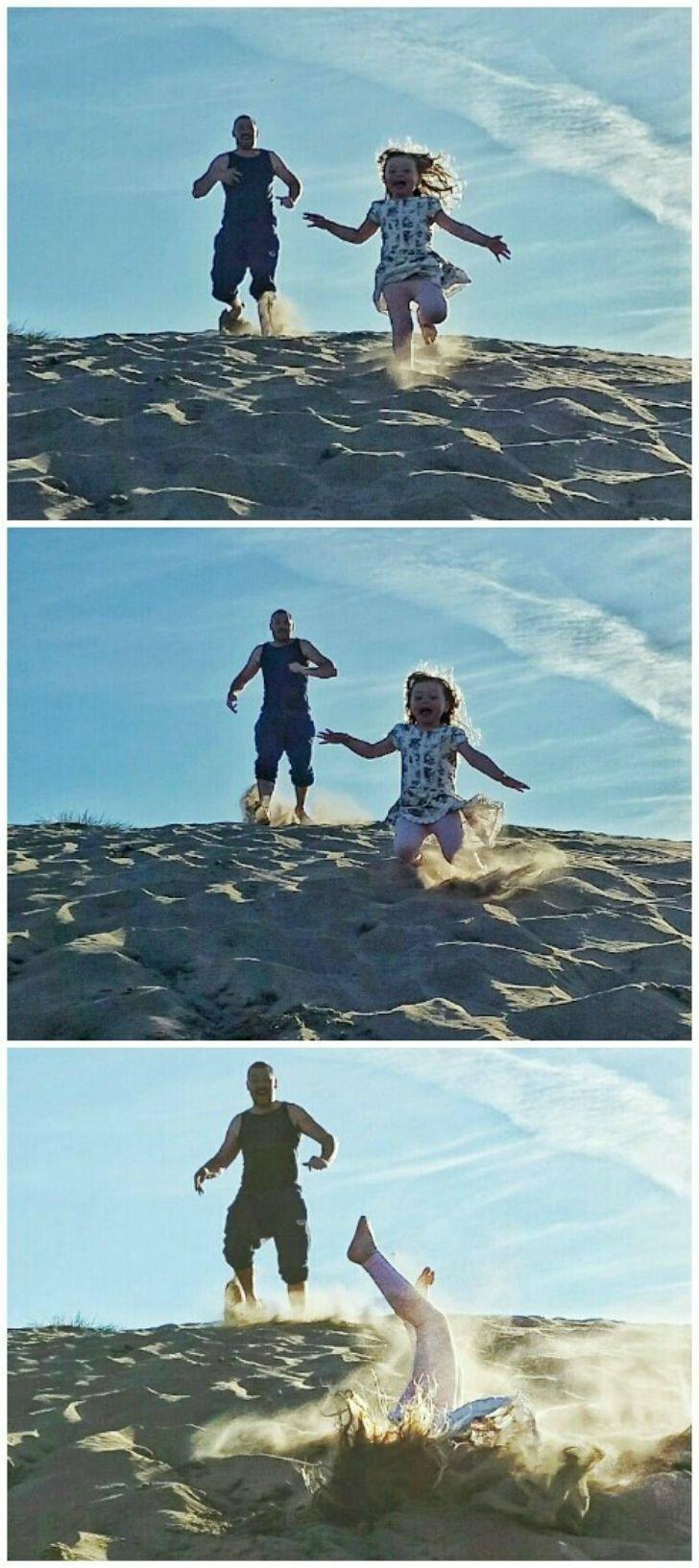 Папа, смотри, как я умею нырять в песок!