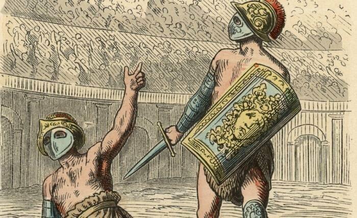Жест «большой палец вверх или вниз» гладиаторы, древний рим, заблуждение, интересно, история, мифы, плебеи, факт