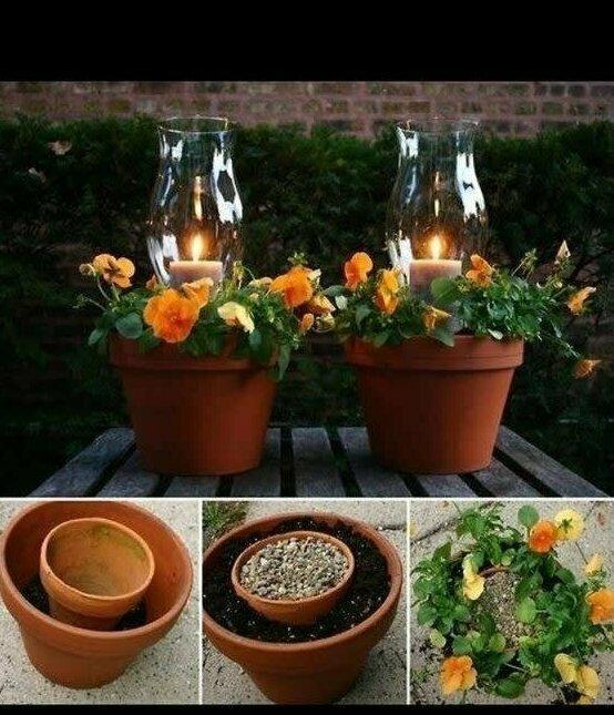 Из самых дешевых цветочных горшков получатся стильные светильники для романтического ужина под открытым небом.