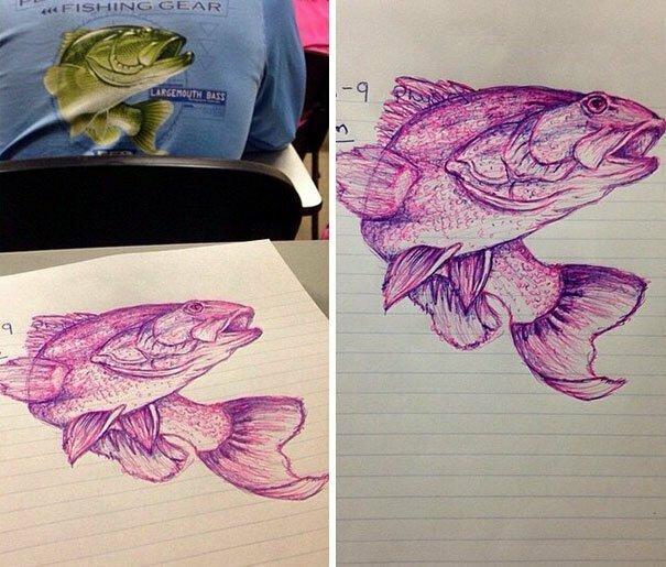 Студентка, которой было скучно на лекции, вместо конспекта срисовала рисунок с футболки парня, сидевшего перед ней