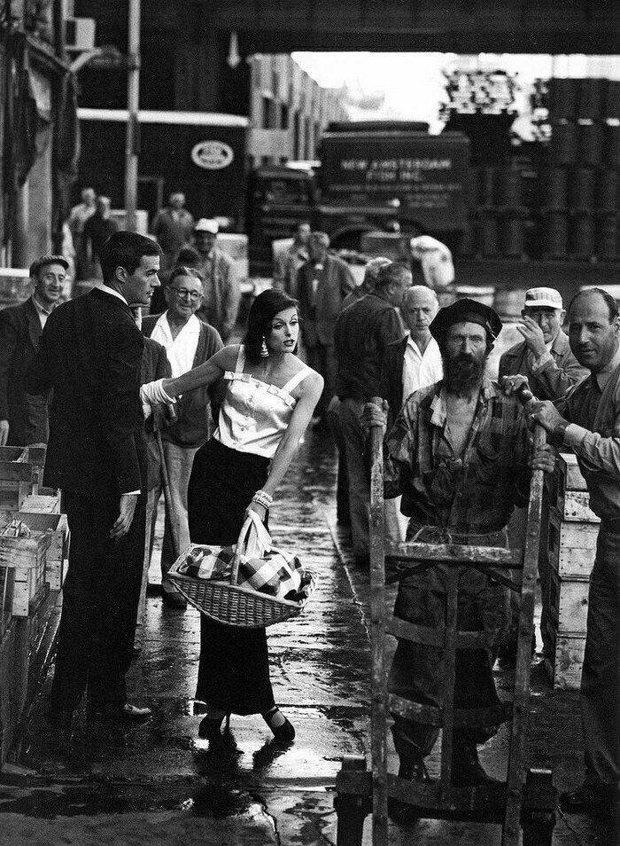 Рыбный рынок Нью-Йорка и его контрасты, США, 1958 год