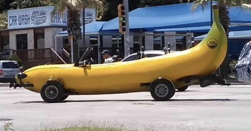 Машина-банан автомобильное, водители, водители ада, дорожное, на дороге, необычные автомобили, странные автомобили, юмор