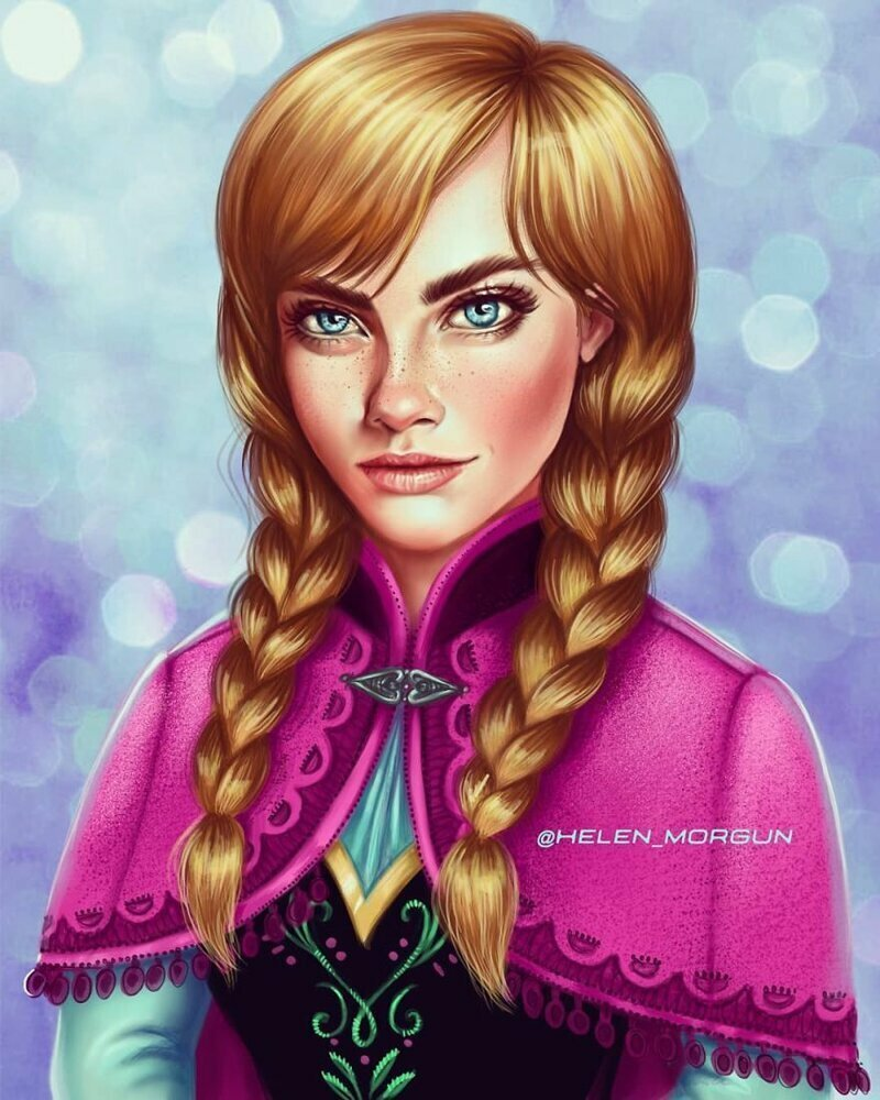 """Кара Делевинь - Анна (""""Холодное сердце"""") девочковое, диснеевские принцессы, звездные сказки, звезды, искусство, рисование, творчество, художник"""
