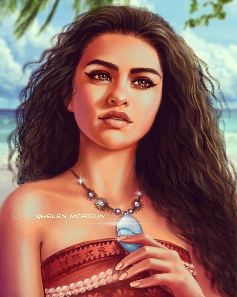 """Селена Гомес - Моана (""""Моана"""") девочковое, диснеевские принцессы, звездные сказки, звезды, искусство, рисование, творчество, художник"""