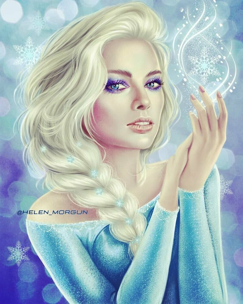 """Марго Робби - Эльза (""""Холодное сердце"""") девочковое, диснеевские принцессы, звездные сказки, звезды, искусство, рисование, творчество, художник"""