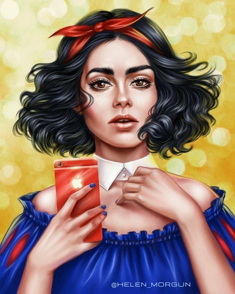 Лили Коллинз - Белоснежка девочковое, диснеевские принцессы, звездные сказки, звезды, искусство, рисование, творчество, художник