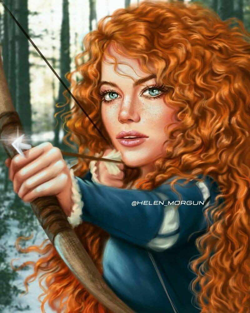 """Эмма Стоун - Мерида (""""Храбрая сердцем"""") девочковое, диснеевские принцессы, звездные сказки, звезды, искусство, рисование, творчество, художник"""