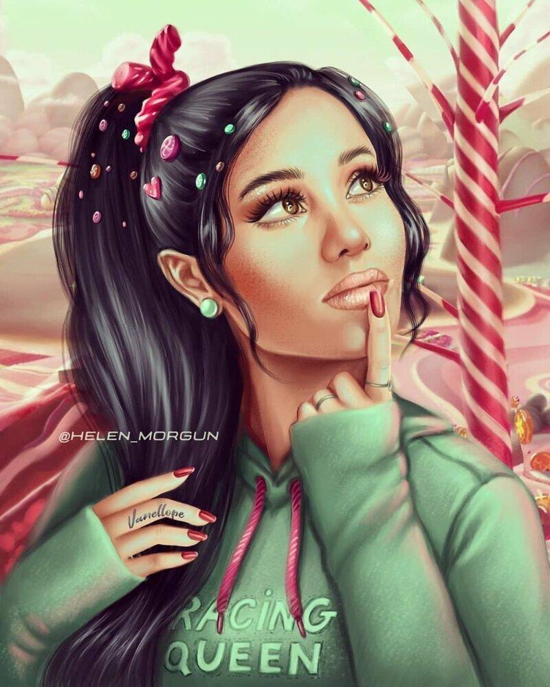 """Ариана Гранде - Ванилопа фон Кекс (""""Ральф"""") девочковое, диснеевские принцессы, звездные сказки, звезды, искусство, рисование, творчество, художник"""