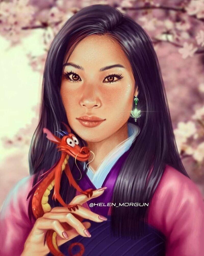 """Люси Лиу - Мулан (""""Мулан"""") девочковое, диснеевские принцессы, звездные сказки, звезды, искусство, рисование, творчество, художник"""