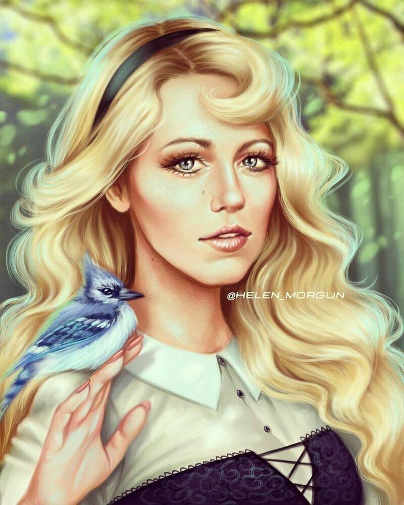 """Блейк Лайвли - принцесса Аврора (""""Спящая красавица"""") девочковое, диснеевские принцессы, звездные сказки, звезды, искусство, рисование, творчество, художник"""