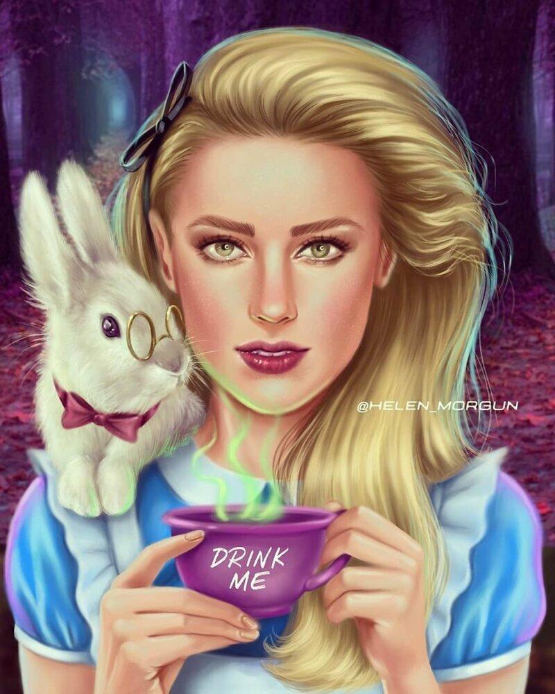 """Эмбер Херд - Алиса (""""Алиса в Стране Чудес"""") девочковое, диснеевские принцессы, звездные сказки, звезды, искусство, рисование, творчество, художник"""