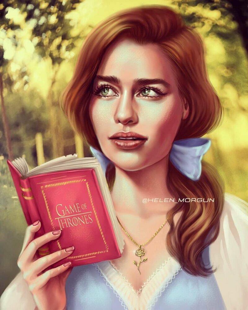"""Эмилия Кларк - Белль (""""Красавица и чудовище"""") девочковое, диснеевские принцессы, звездные сказки, звезды, искусство, рисование, творчество, художник"""