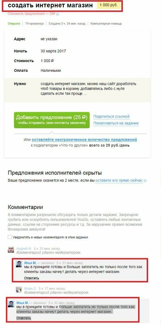 Интернет-магазин за 1000 рублей биржа, заказчики, исполнители, опыт, работа, фрилансер