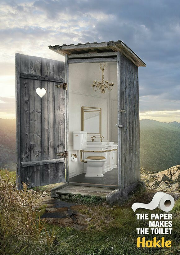 Любой туалет с этой бумагой превращается в дворец гениально. реклама, креатив, неповторимо, фабрика идей, фантазия