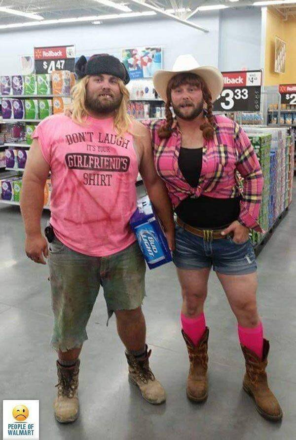 Розовая парочка walmart, америка, люди, магазин, мода, одежда, чудики, юмор