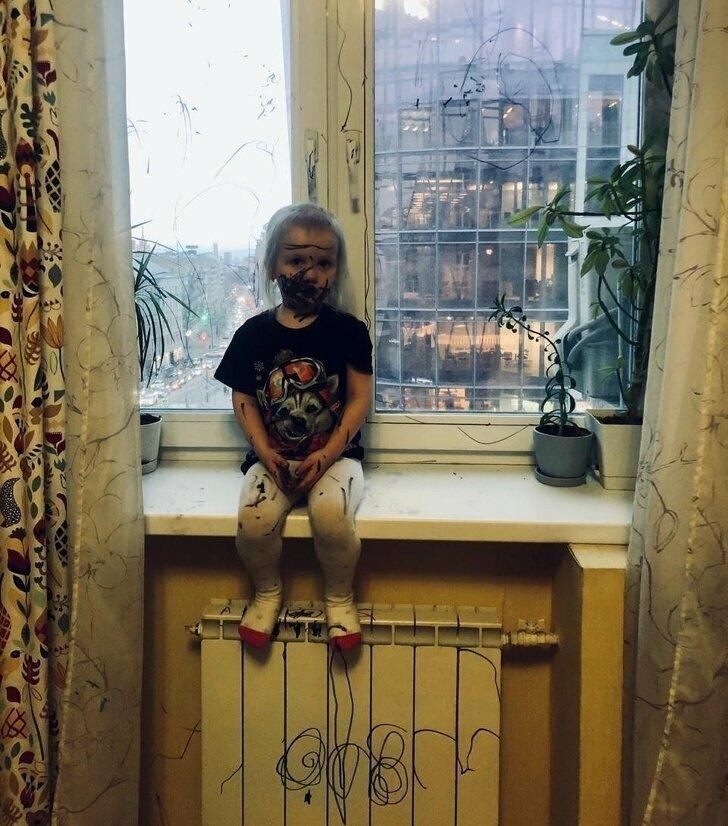 В семье растет визажист-художник 5 минут тишины, десять минут тишины, дети, нашкодил, отвернулся, прикол, родители и дети