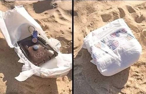 Простой способ спрятать ценные вещи lifehack, лайфхаки, лето, пляж, полезное, прикол, хитрости