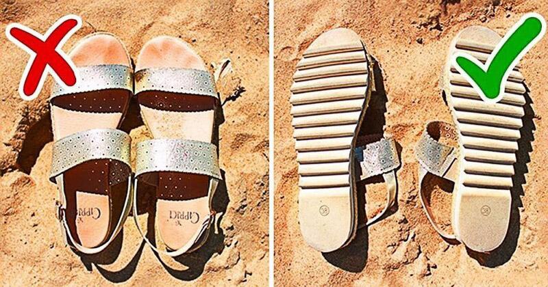Чтобы потом не влезать в обжигающую обувь lifehack, лайфхаки, лето, пляж, полезное, прикол, хитрости