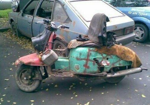 Ещё один мопед Франкенштейна авто, моддинг, мото, сельский моддинг, юмор