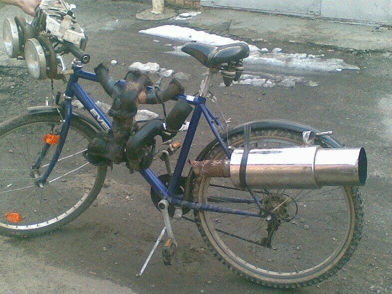Велосипед, мимикрирующий под байк авто, моддинг, мото, сельский моддинг, юмор