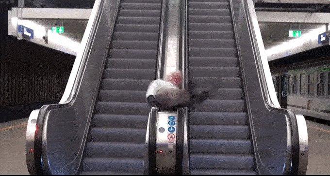 gif, лестница, лестницы, подборка, прикол, эскалаторы