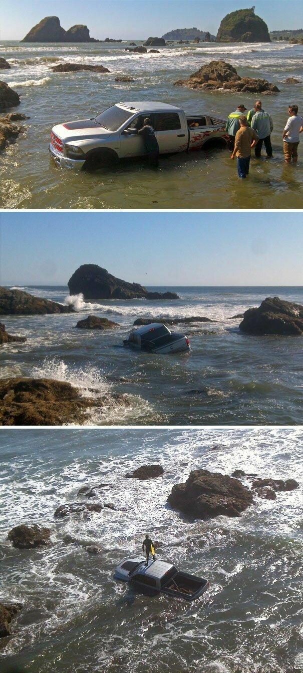 """""""Dodge попытался снять на нашем пляже рекламу вездеходного пикапа"""" вот это да, забавно, находки, неожиданности, пляжи, смешно, странные вещи, удивительное рядом"""