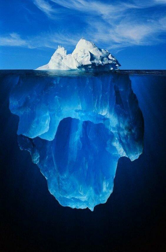 Некоторые айсберги огромны - так в 2000 году от ледника Росса в Антарктиде откололся гигант площадью более 10 000 квадратных километров айсберг, интересное, лед, под водой, природа