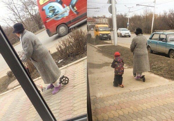 Просто бабушка рассекает на самокате