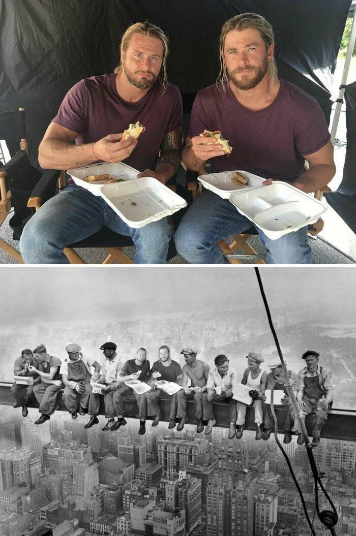 Крис Хемсворт и его дублер обедают