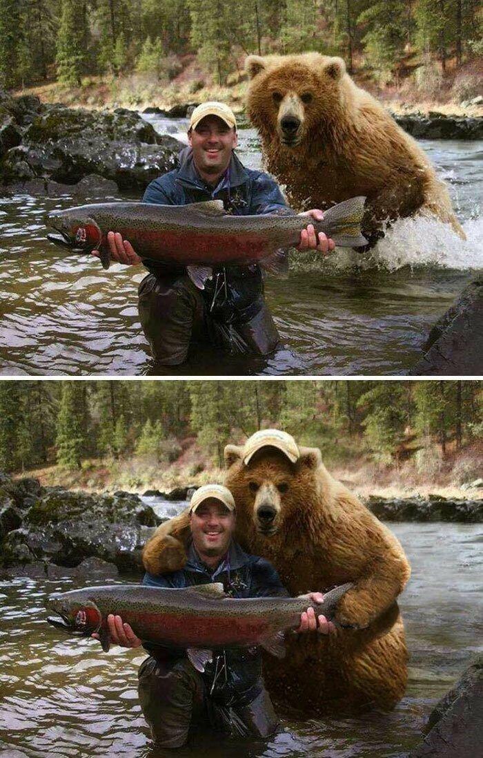 Рыбак со своим уловом. И медведем за спиной