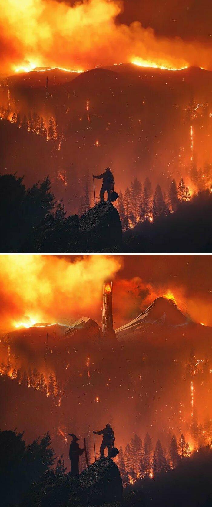 Пожарный на фоне огня во время калифорнийских пожаров 2018 года
