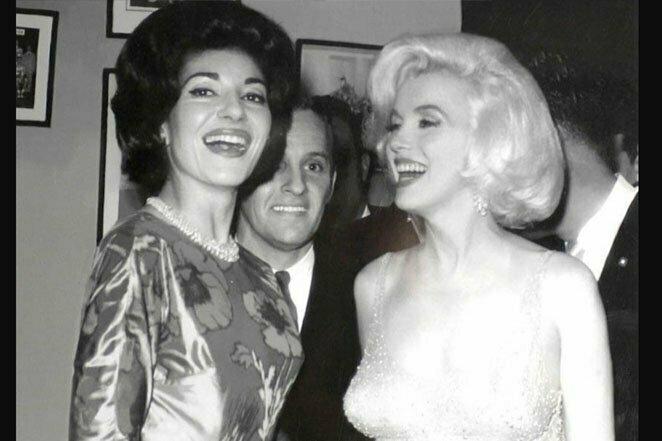 Две дивы из разных миров: встреча Марии Каллас и Мэрилин Монро, королевы сопрано и королевы Голливуда, 1962 г. 20 век, звезды, знаменитости, знаменитости в молодости, известные, известные люди, известные люди в молодости, старые фотографии