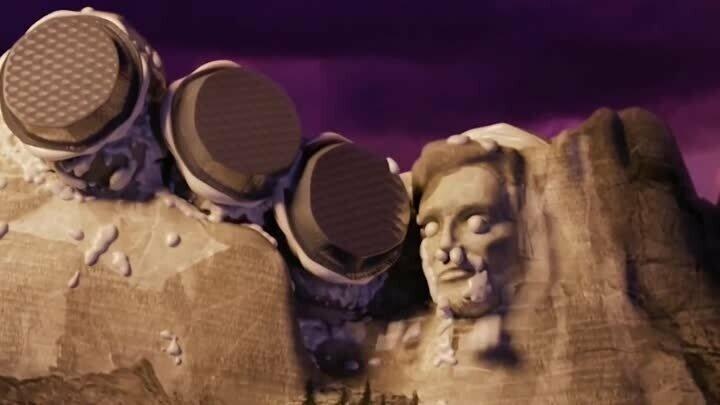 """В мультфильме """"Облачно, возможны осадки в виде фрикаделек"""", каждый президент получил пирог в лицо, кроме Авраама Линкольна - ему пирог угодил в затылок, как и пуля, которая его убила забавно, интересное, кино, киноляпы, пасхалки, факт"""