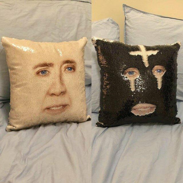 Подушки с лицом Николаса Кейджа