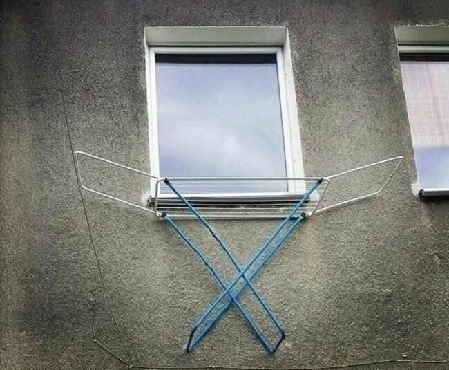 Когда в доме нет места для сушилки креатив, мышление, проблемы, решение, смекалка, фото