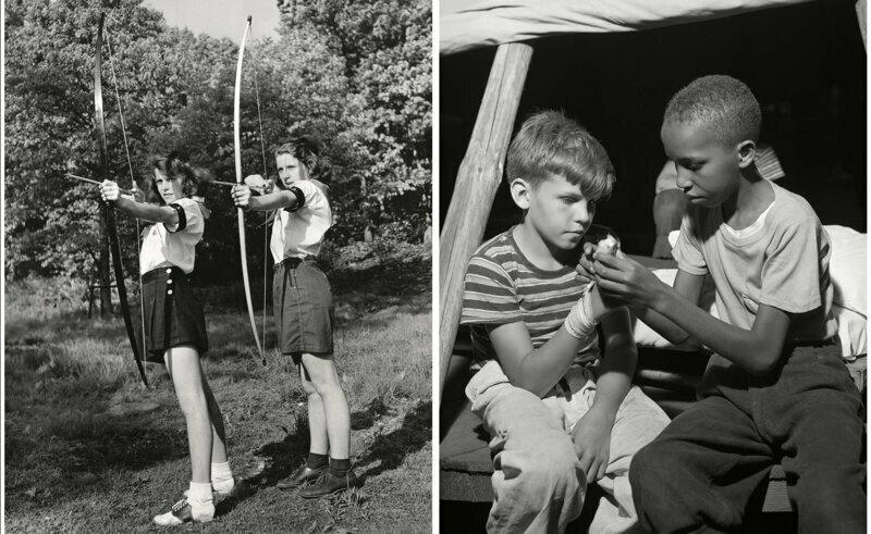 Девочки учатся стрелять из лука, 1944 г. Мальчик делает перевязку товарищу, который поранил руку. Лагерь Натана Хейла, Саутфилдс, август 1943 г.