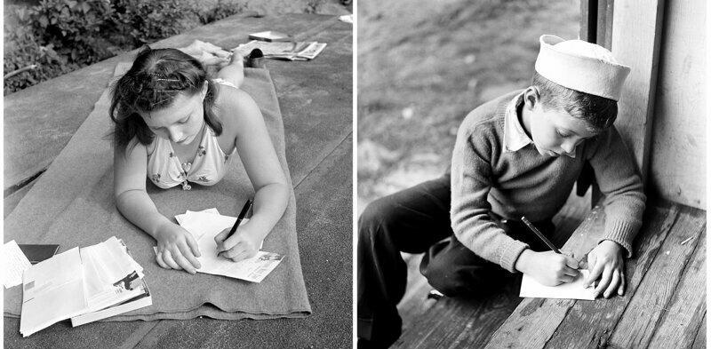 Девушка пишет письмо своему парню. Летний лагерь в Интерлочене, штат Мичиган, 1942 г. Мальчик пишет письмо домой, лагерь Генри, Нью-Йорк, 1948 г.