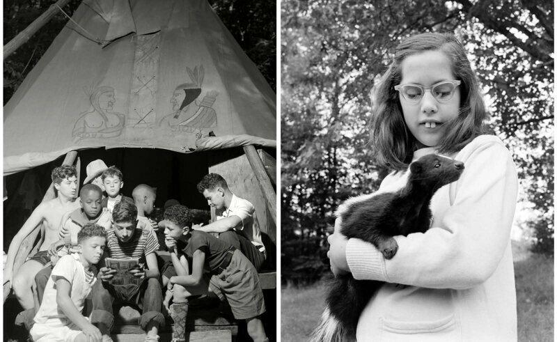 Мальчики читают комиксы. Лагерь Натана Хейла, Саутфилд, 1943 г. Девочка держит на руках скунса, 1963 г.