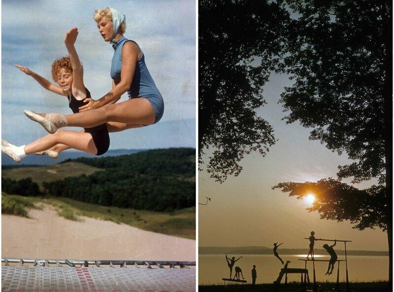 Занятия гимнастикой на берегу озера Элк в Вильямсбурге, штат Мичиган, 1956 г.