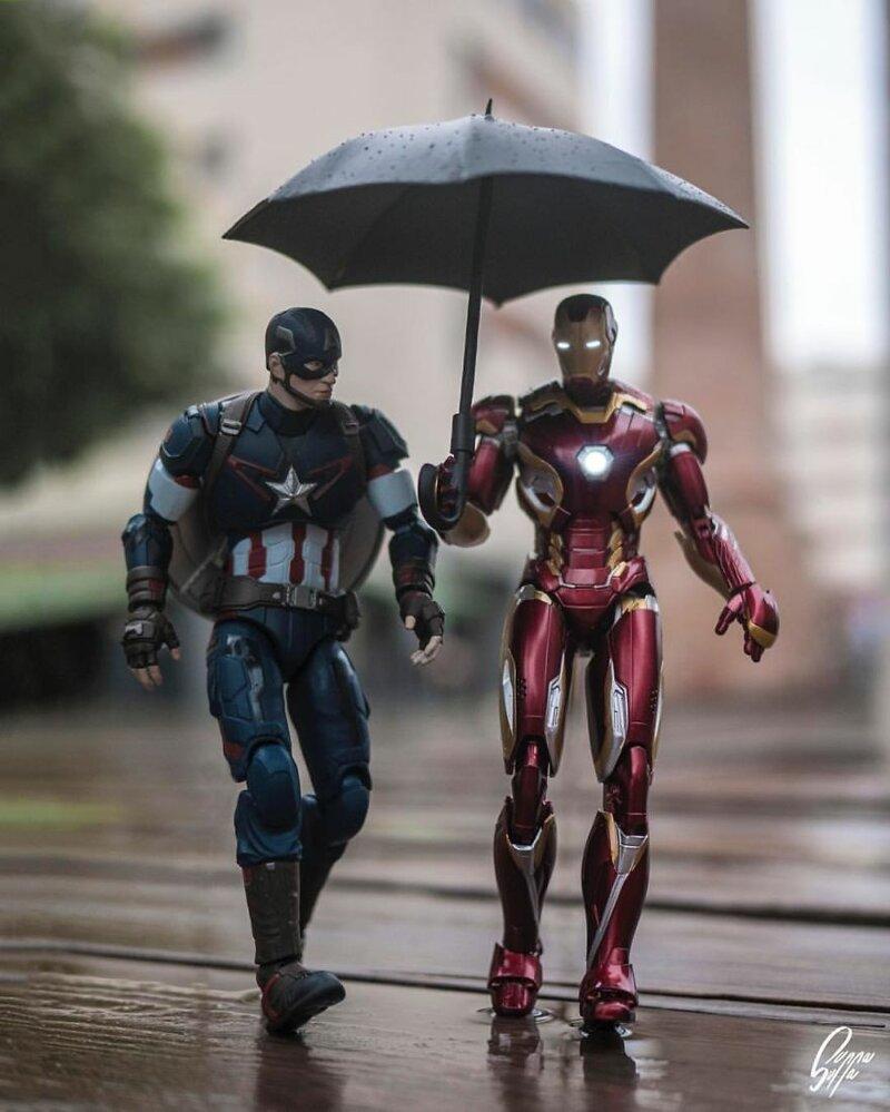Дождливым американским утром жизнь, и грушки, прикол, супергерой, фотограф, эди харджо, юмор