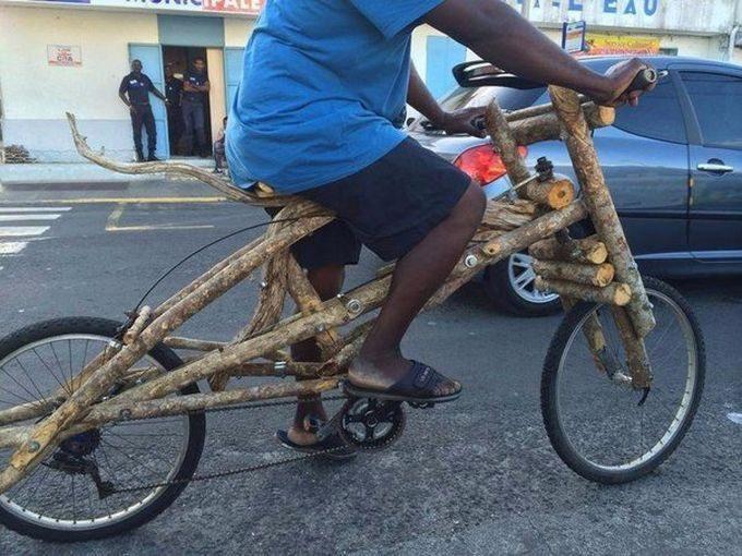 Собрать из дерева велосипед не может быть, невероятное, прикол, чудеса, чудо, юмор