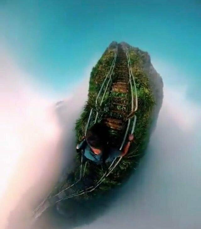 Лестница в небо (Гавайи) во дают, мурашки по коже, ничего себе, страшно, фото, фотографии, фотофакты, храбрые парни