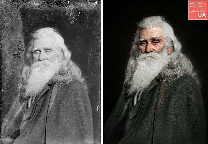 Пожилой мужчина, 1890 год. Библиотека Конгресса, негатив на стеклянной пластинке