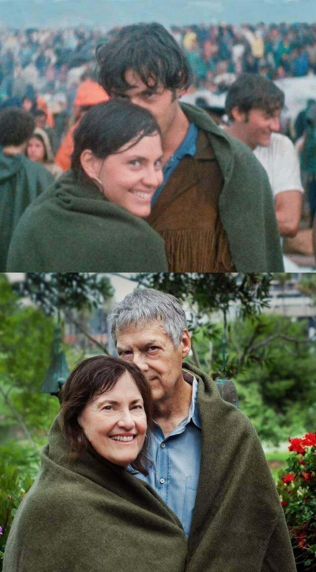 Пара на Вудстоке через 48 часов после знакомства и 50 лет спустя