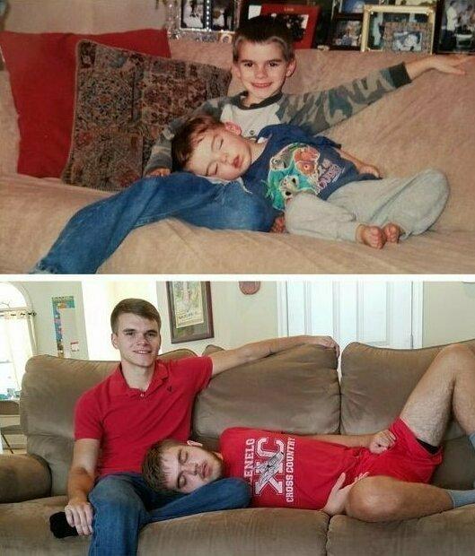 Братья в 2004 и 2017