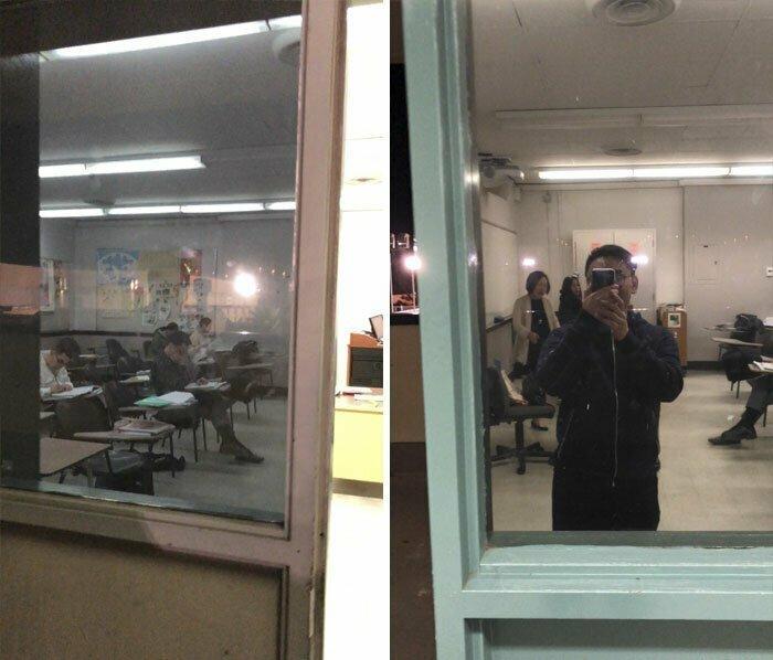 """""""Сначала сделали окна из коридора в классы, затем с одной стороны оклеили их непрозрачной пленкой. Теперь, если начнется стрельба, мы никого не увидим, зато сами будем как на ладони"""""""