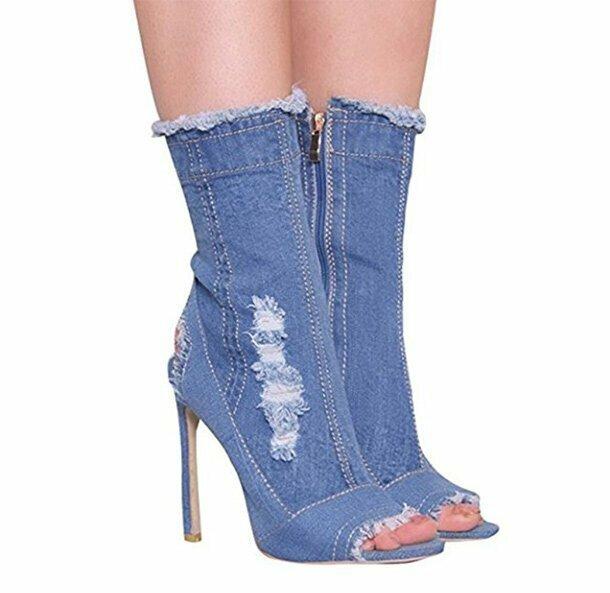 23. Джинсовые ботинки на шпильках. Колхозный шик!